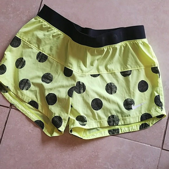 Nike Pants - Nike Dri Fit Yellow Polka Dot Shorts